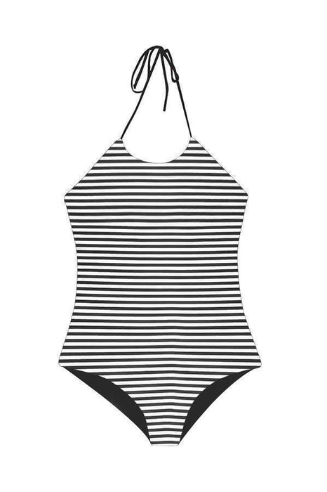 ORCHID LABEL Women's Swimwear black and white high neck halter top one piece