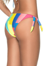 phax swimwear string bottom with multicolored stripes and moderate coverage