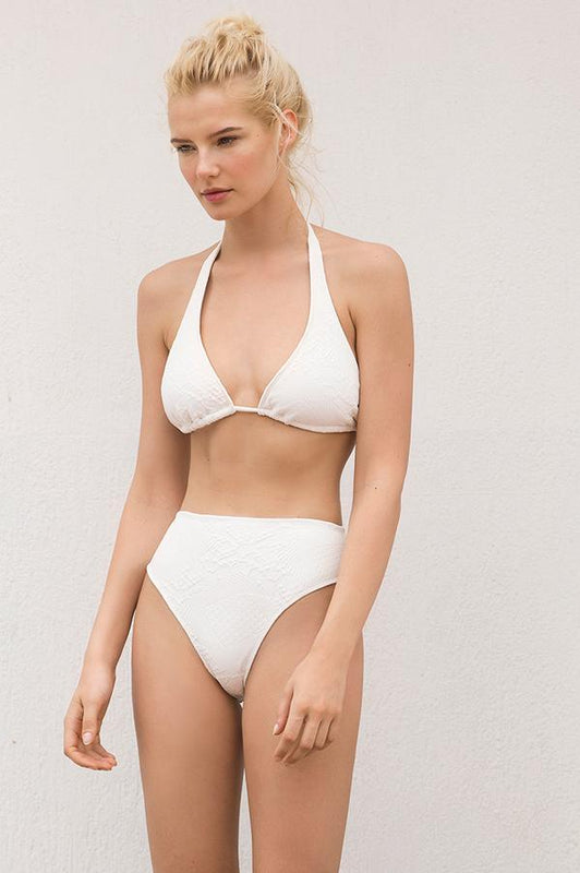 Touche halter bikini top features removable padding for better fit and support and white print