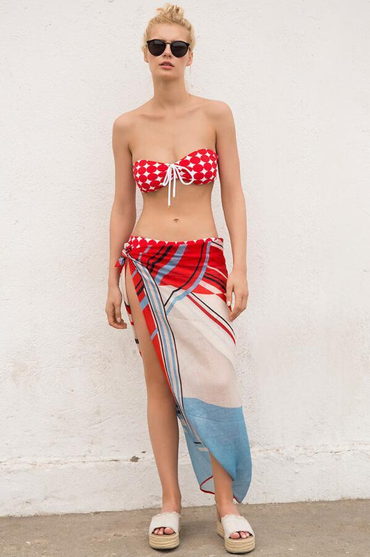 touche women versatile beach long pareo with colorful design