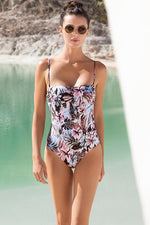 Touche bandeau tropical one piece with moderate coverage at rear