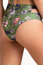 touché swimwear high waisted bottom with cut out details and floral print
