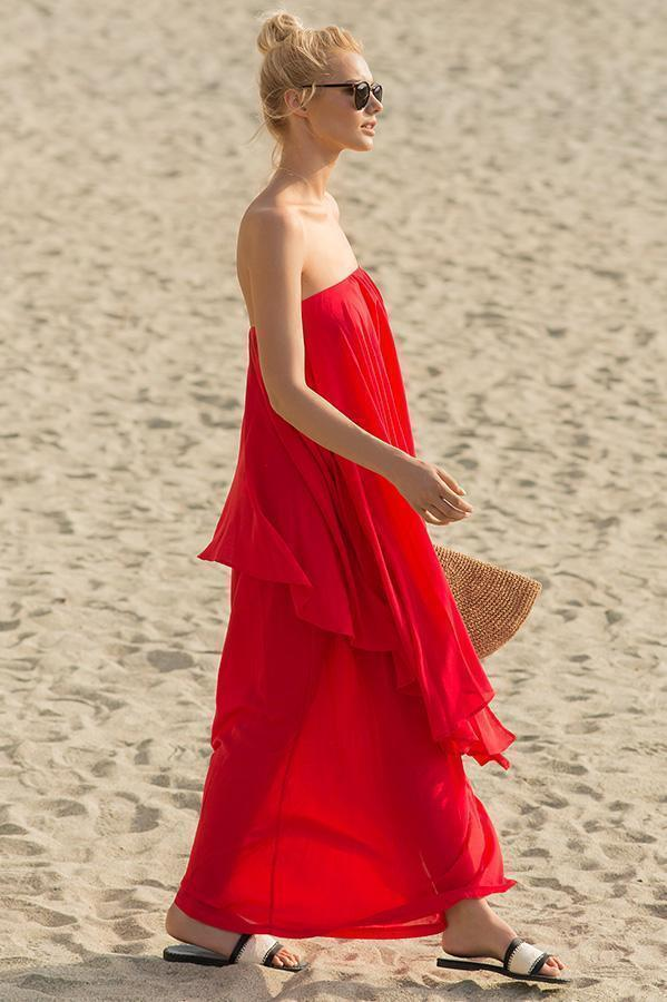 TOUCHÉ Literal Cerise Maxi Dress - Size Small