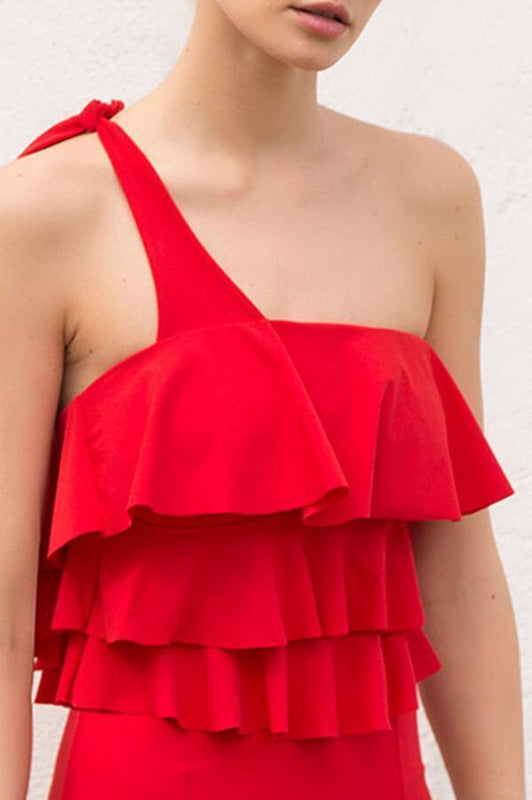 TOUCHÉ Literal Cerise Ruffle Top - Size Small-OrchidBoutique
