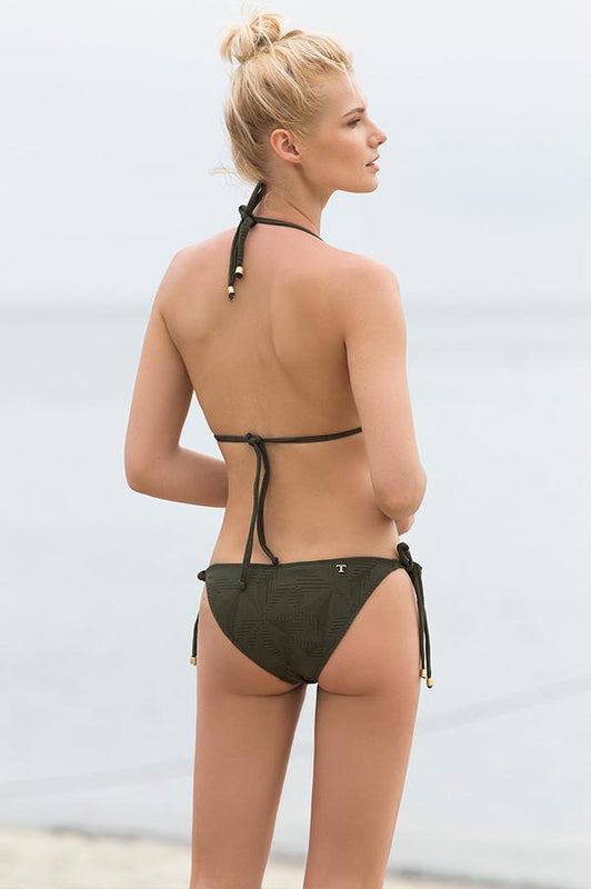 Touche swimwear green cheeky bottom ties at sides