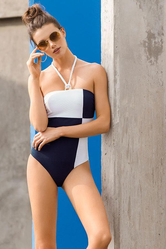 Touche bandeau cut one piece features color block style provides moderate coverage at rear