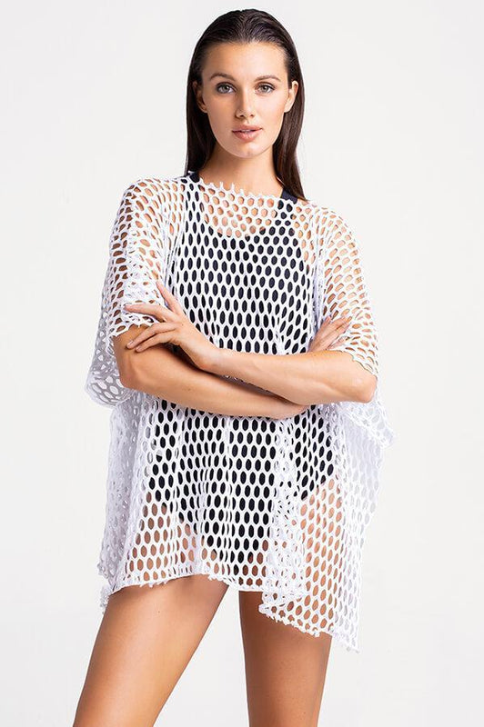 TOUCHE SWIMWEAR WHITE COVER UP PIECE IN MESH