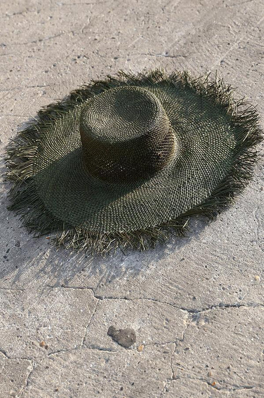 TOUCHÉ SWIMWEAR WOVEN HAT IN OLIVE GREEN
