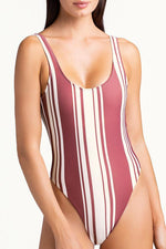 high cut classic one piece swimsuit  with moderate coverage at the rear by touché swimwear
