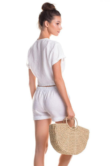 TOUCHE women white short features pockets at front
