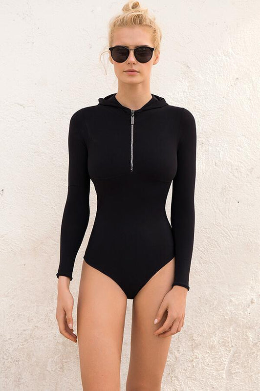 Hooded black one piece swimsuit by Touche Swimwear with moderate coverage