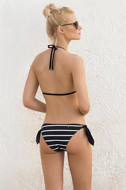 touche string bottom features stripes print and cheeky coverage