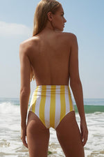 verde limon striped high waisted bottom with full coverage at the rear
