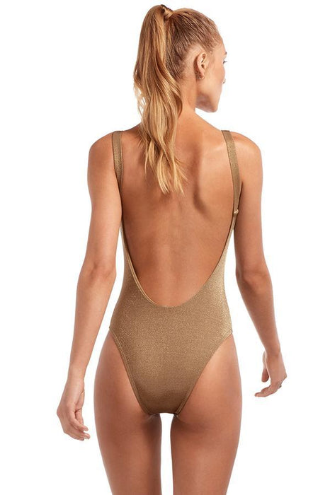 VITAMIN A Bronze Metallic Leah Bodysuit