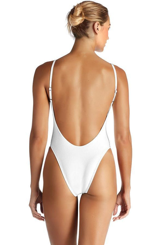 VITAMIN A White Eco Rib Yasmeen Maillot One Piece