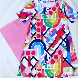 Rainbow Dreams short sleeve Swing Dress