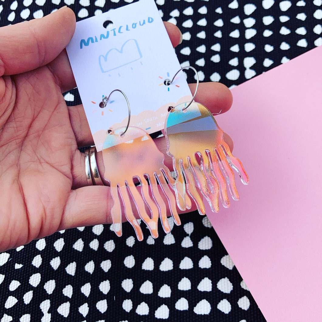 Jellyfish iridescent earrings