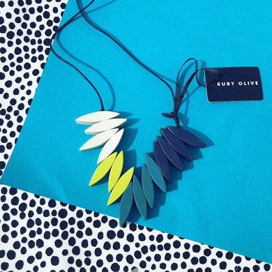 Spark Fringe Necklace - green and blue