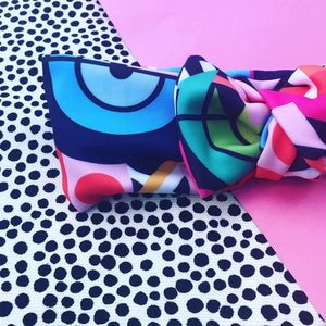 Rainbow Dreams Bow Headband - navy