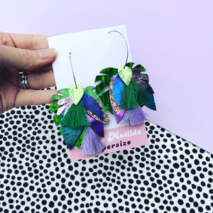 Take It Or Leaf It earrings - purple