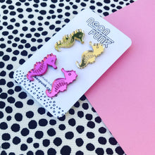 Seahorse duo earrings - gold and pink