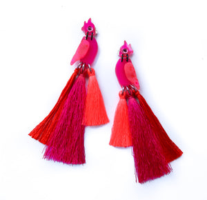 Cockatoo Tassel Statement Earrings