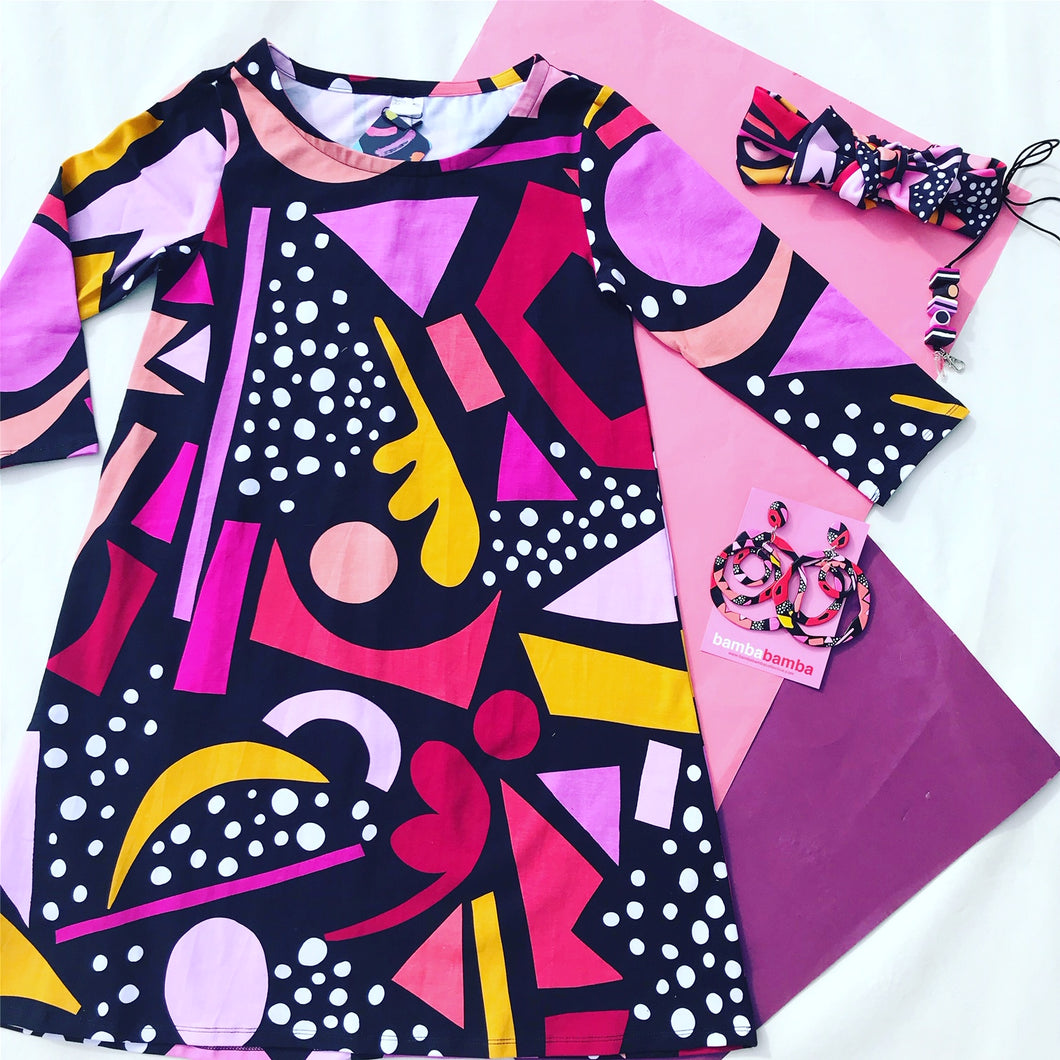 Raspberry Liquorice Allsorts Swing Dress