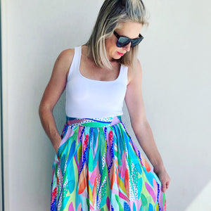 Take It Or Leaf It silk midi skirt