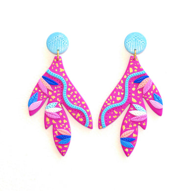 Marli Bean Designs Leaf Dangles Pink Wild thing