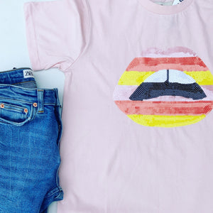 Sequin lips tee - dusty pink