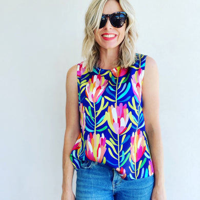 Protea Lovers Navy silk shell top