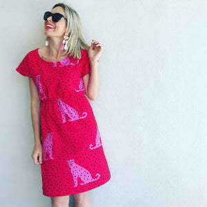 I Spotted You Tee Dress - red