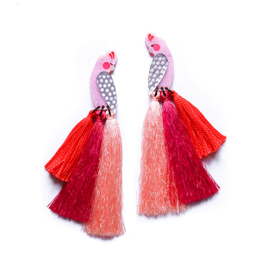 Galah Tassel Statement Earrings