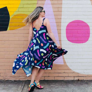 Navy Brushstrokes Kerchief Maxi Dress