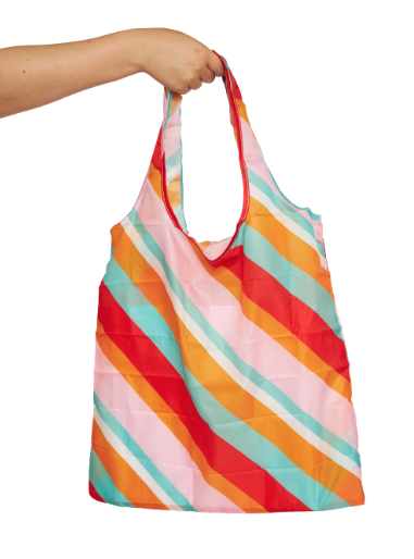 Nylon Fold Up Shopper Bag - Candy Stripes