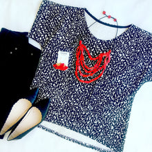 KarlaCola Black and white blouse along side Sassi the Collection earrings and Ruby Olive necklace.