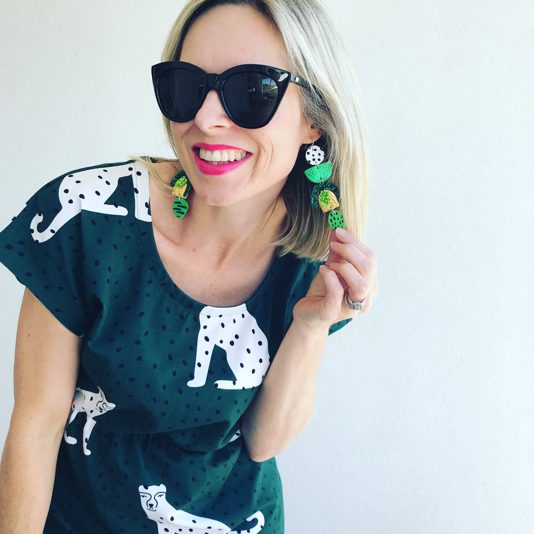 I Spotted You Statement Earrings - green