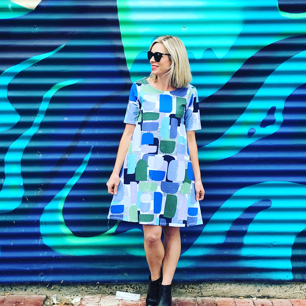 Block Party short sleeve Swing Dress - blue