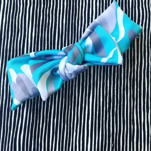 Protea Lovers Teal Wide Bow Headband
