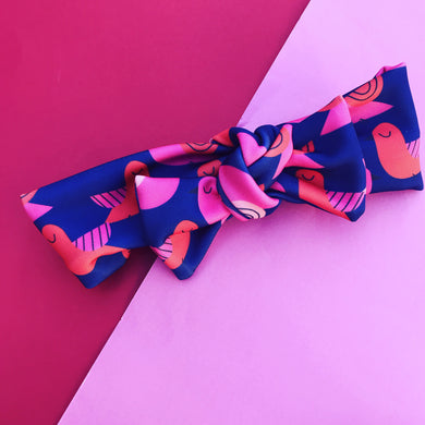 You're So Tweet Bow Headband Blue & Pink