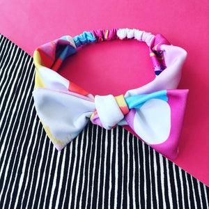 Opposites Abstract Blue or Pink Bow Headband