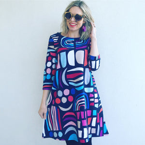 Shape Up Blue Pink Swing Dress