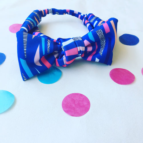 Funfetti Confetti Wide Bow Headband Blue
