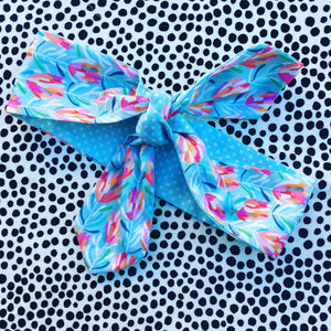 Mini  Protea print Hair Tie Aqua