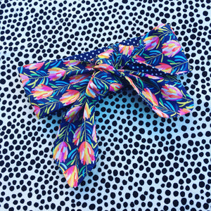 Mini Protea print Hair Tie Navy