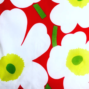 Green and Red floral skirt made with Marimekko fabric.