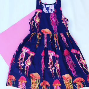 You Wish Jellyfish LONGER LENGTH Navy sundress