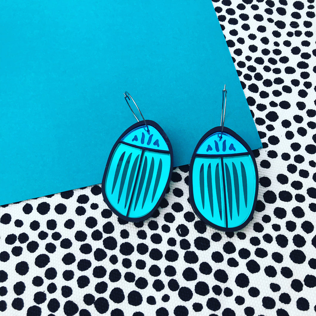 Bug Off Blue and Teal earrings