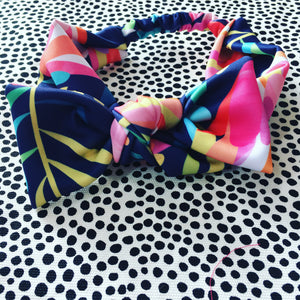 Protea Navy Bow Headband