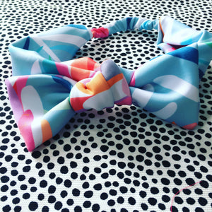 Aqua Protea Wide Bow Headband